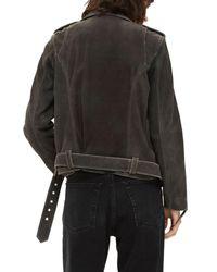 TOPSHOP - Gray Moon Suede Biker Jacket - Lyst