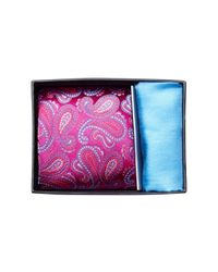 Ted Baker Pink Pine Paisley Silk Tie & Pocket Square Set for men