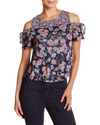 Lucky Brand - Blue Floral Tie Cold Shoulder Blouse - Lyst