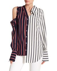 Haute Rogue - Blue Asymmetrical Two-tone Striped Cold Shoulder Top - Lyst