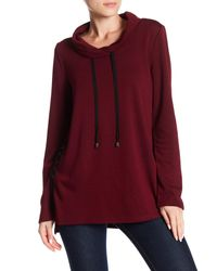 Cable & Gauge - Red Funnel Neck Knit Pullover - Lyst