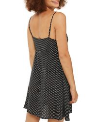 TOPSHOP Black Petite Pinstar Knot Mini Slip Dress