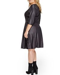 Addition Elle - Black Lace-up Swing Dress (plus Size) - Lyst