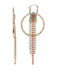 Steve Madden - Metallic Two-tone Bead Detail Fringe Drop Textured Circle Earrings - Lyst