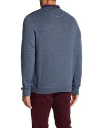 Bugatchi - Gray Long Sleeve Quarter Zip Down Sweater for Men - Lyst