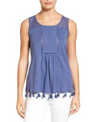Caslon - Blue Caslon Tassel Trim Embroidered Tank - Lyst