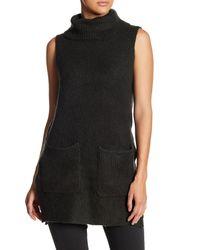 Lush - Black Turtleneck Sweater Vest - Lyst