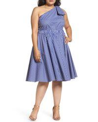 Eliza J - Blue One-shoulder Fit & Flare Dress - Lyst