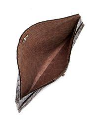 Boconi | Brown Croc Embossed Envelope Card Case for Men | Lyst