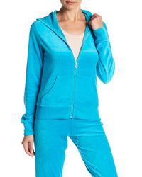Juicy Couture | Blue Robertson Velour Front Zip Jacket | Lyst