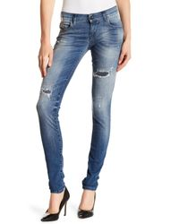 DIESEL - Blue Grupee Distressed Super Slim Skinny Jeans - Lyst