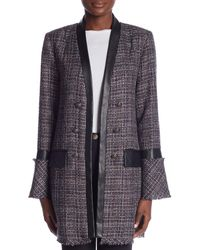 Laundry by Shelli Segal - Black Double-breasted Long Boucle Coat - Lyst