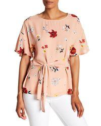Pleione - Pink Tie Waist Floral Blouse - Lyst