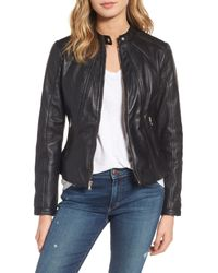 Guess - Black Collarless Leather Moto Jacket - Lyst