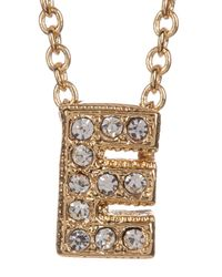 Nadri - Metallic 18k Yellow Gold Plated Pave 'e' Initial Pendant Necklace - Lyst