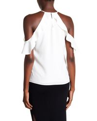 Cooper & Ella - White Saga Ruffle Cold Shoulder Top - Lyst