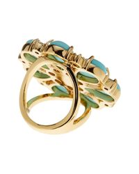 Kate Spade - Metallic Gold Plated Mix Stone Glass Pearl Accented Flower Cocktail Ring - Lyst