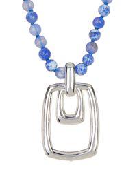 Simon Sebbag - Blue Beaded Rectangle Pendant Necklace - Lyst