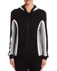 Trina Turk   Black Attached Hood Colorblock Jacket   Lyst