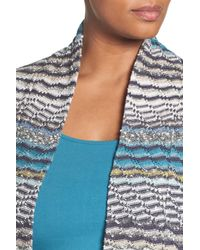 NIC+ZOE - Blue Shaded Stripes Linen Blend Cardigan (plus Size) - Lyst