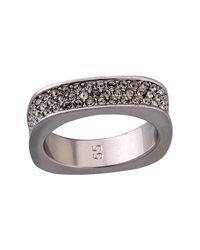 Swarovski - White Vio Rhodium Plated Crystal Square Ring - Size 7 - Lyst