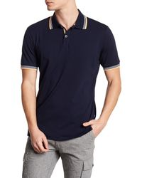 Stone Rose Blue Pima Cotton Jersey Polo for men