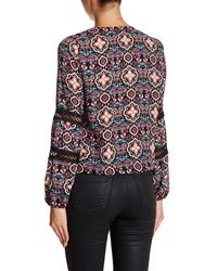 Romeo and Juliet Couture - Multicolor Lace Up Crochet Detail Blouse - Lyst