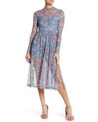 Lush | Blue Mock Neck Floral Mesh Dress | Lyst