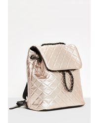 Missguided - Multicolor Rose Gold Quilted Chain Backpack - Lyst
