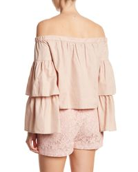 BCBGMAXAZRIA - Pink Layered Off-the-shoulder Long Sleeve Top - Lyst