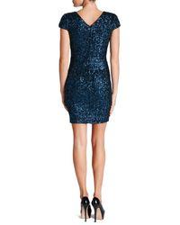 Dress the Population - Blue Zoe V-neck Bodycon Dress - Lyst