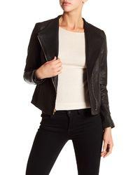 Cole Haan - Black Asymmetrical Front Zip Genuine Leather Jacket - Lyst
