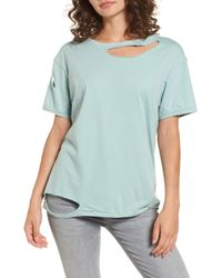 TOPSHOP - Green Ripped Cotton Tee - Lyst