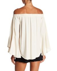 Fifteen Twenty - Natural Flare Sleeve Off The Shoulder Blouse - Lyst