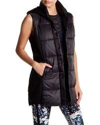 Betsey Johnson - Black Hybrid Puffer Hooded Vest - Lyst