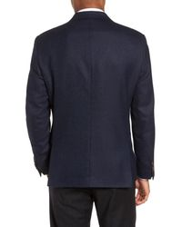 Sand - Blue Trim Fit Wool Blazer for Men - Lyst