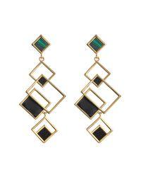 Trina Turk - Metallic Geometric Leather & Malachite Drop Earrings - Lyst