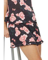 TOPSHOP - Black Rose Pajama Shorts - Lyst