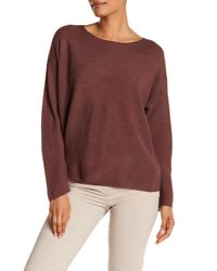 Eileen Fisher - Purple Bateau Neck Lightweight Merino Wool Sweater - Lyst