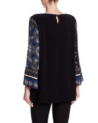 Chaus - Black Bell Sleeve Tile Keyhole Blouse - Lyst