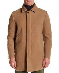 DIESEL - Brown Wool Blended Zip Pea Coat for Men - Lyst