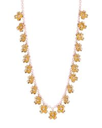 Carolee | Metallic Tiny Flower Station Long Chain Necklace | Lyst