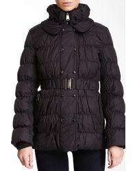 Via Spiga | Black Quilted Genuine Dyed Rabbit Fur Collar Puffer Coat | Lyst