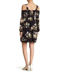Eci - Black Floral Smocked Cold Shoulder Dress - Lyst