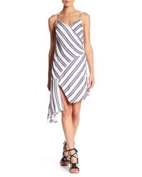 Lush - White Stripe Asymmetrical Hem Dress - Lyst