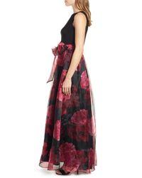 Eliza J - Red Jersey & Organza Ballgown - Lyst