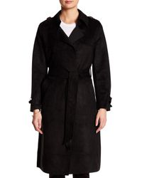 Love Token - Black Faux Suede Trench Coat - Lyst