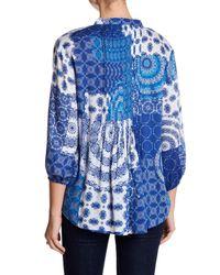 Casual Studio - Blue 3/4 Sleeve Pleated Blouse - Lyst