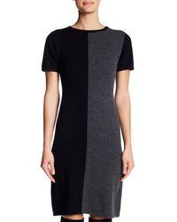Philosophy Apparel - Black Short Sleeve Cashmere Colorblock Sweater Dress - Lyst