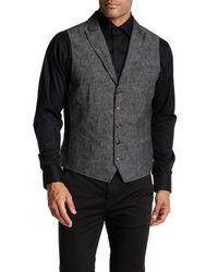 John Varvatos - Black Garment Washed Slim Fit Peal Lapel Vest for Men - Lyst
